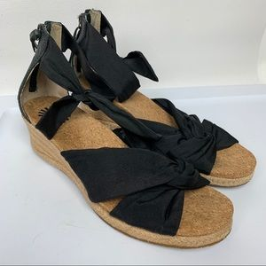 Wedge Fabric Leather Women's Sandals
